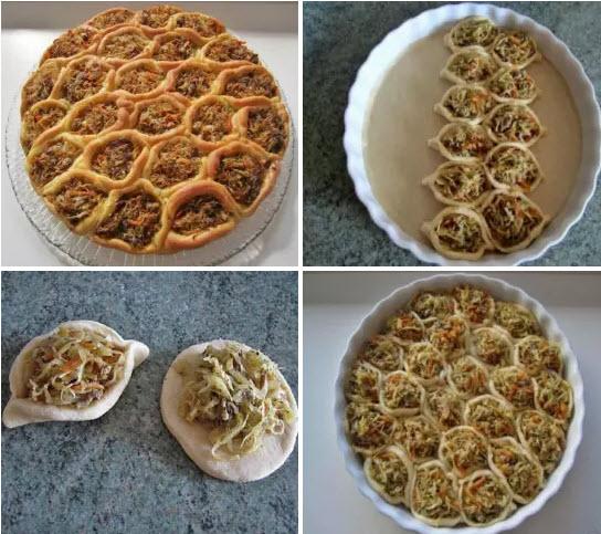 """Пирог """"соты"""" с квашенной капустой и мясным фаршем — это потрясающе аппетитная выпечка. Улетает первая со стола!"""