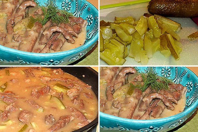 Тушеная говядина с солеными огурцами