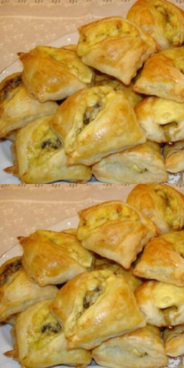 Сытные пирожки с грибами и сыром. Идеально подходят в качестве закуски к основному блюду.
