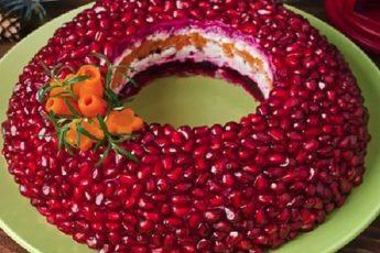 Восторг,только от того ,что видишь такую красоту , да и внутри все супер вкусно Салат «ГРАНАТОВЫЙ БРАСЛЕТ»