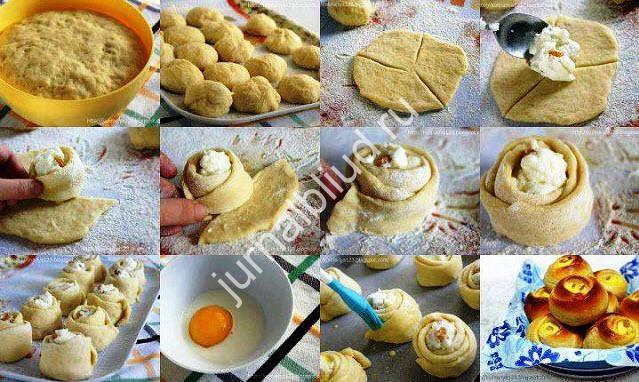 булочки с творогом рецепт с фото