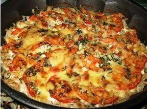 Рыба запечённая с помидорами и сыром фото