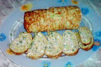 Низкоколлорийный рулет из кабачков с сыром